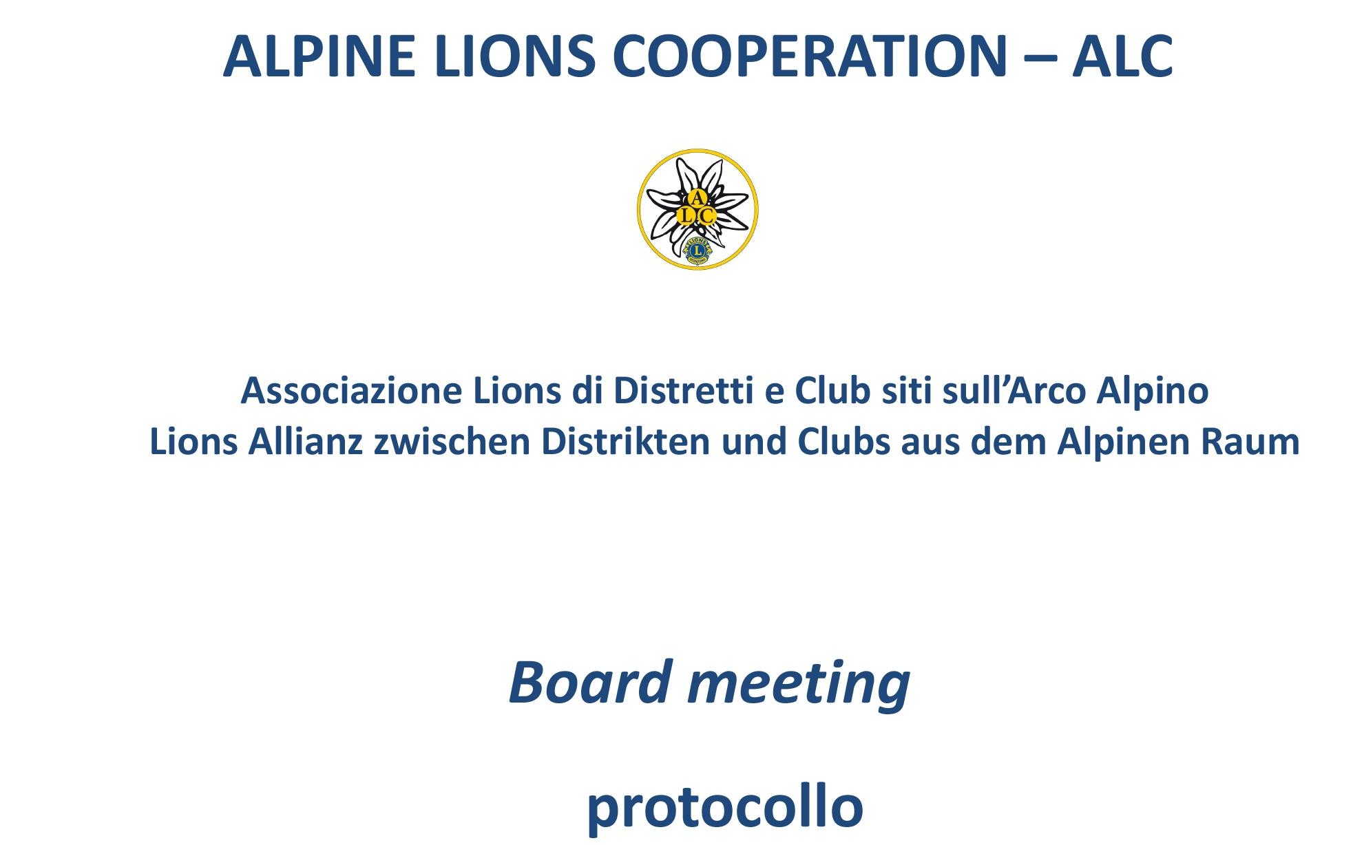 ALPINE LIONS COOPERATION – ALC: Definizione Protocollo