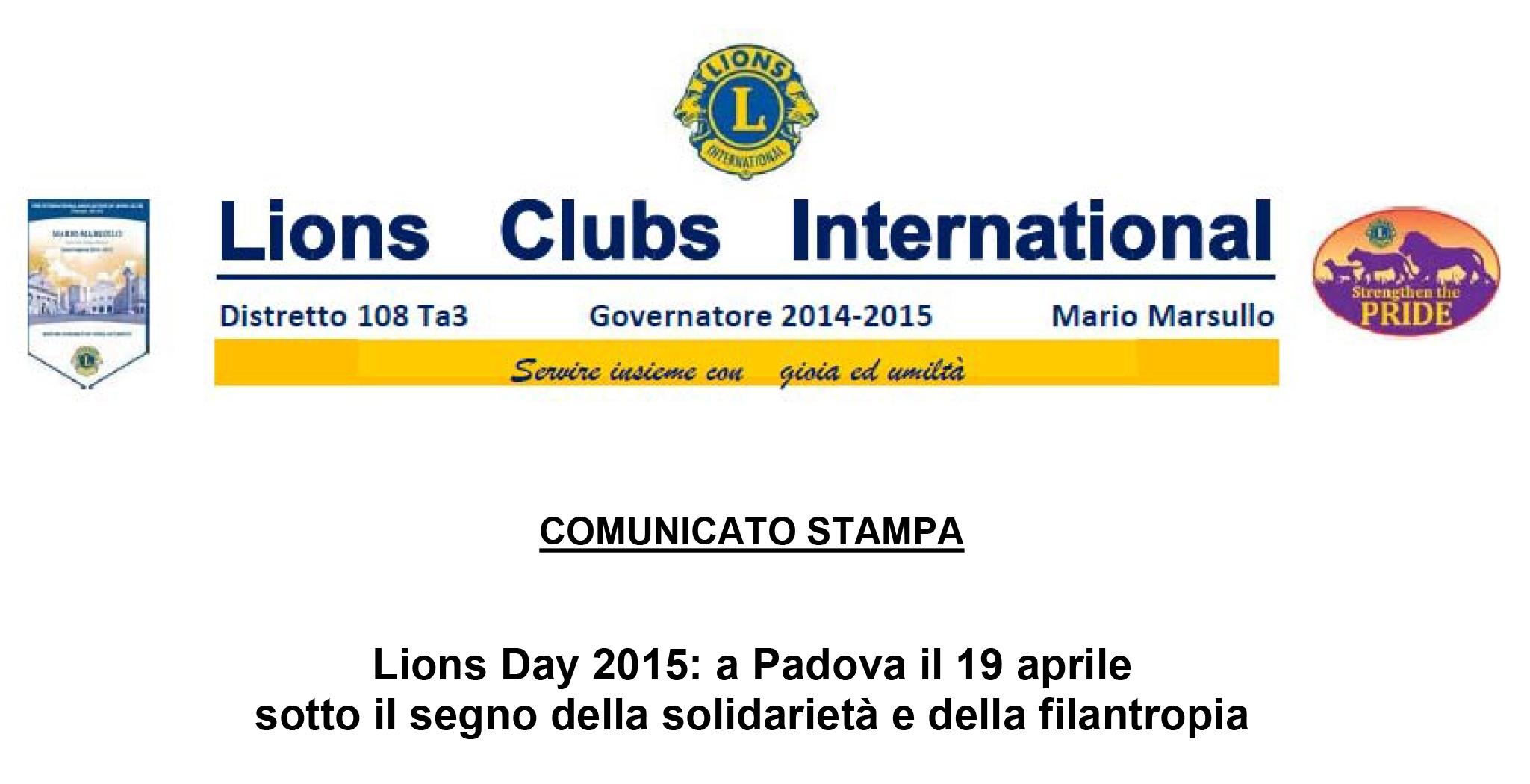 DISTRETTO 108 Ta3: LIONS DAY